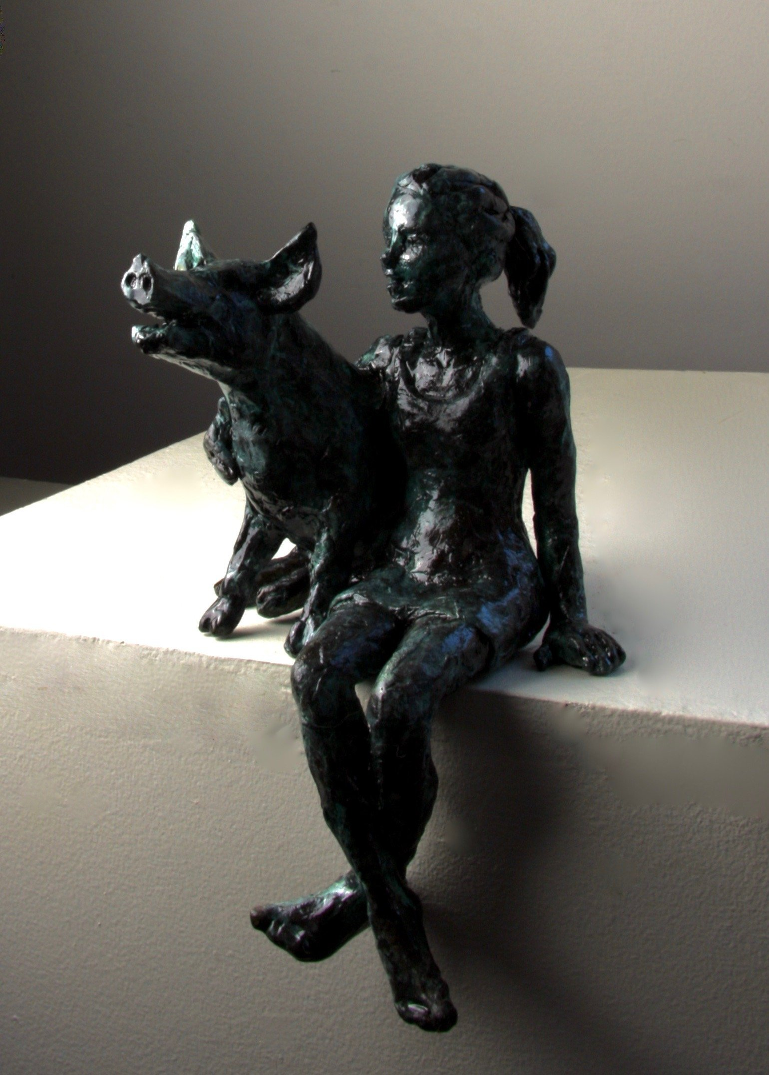 bronze sculpture pig girl art figurative