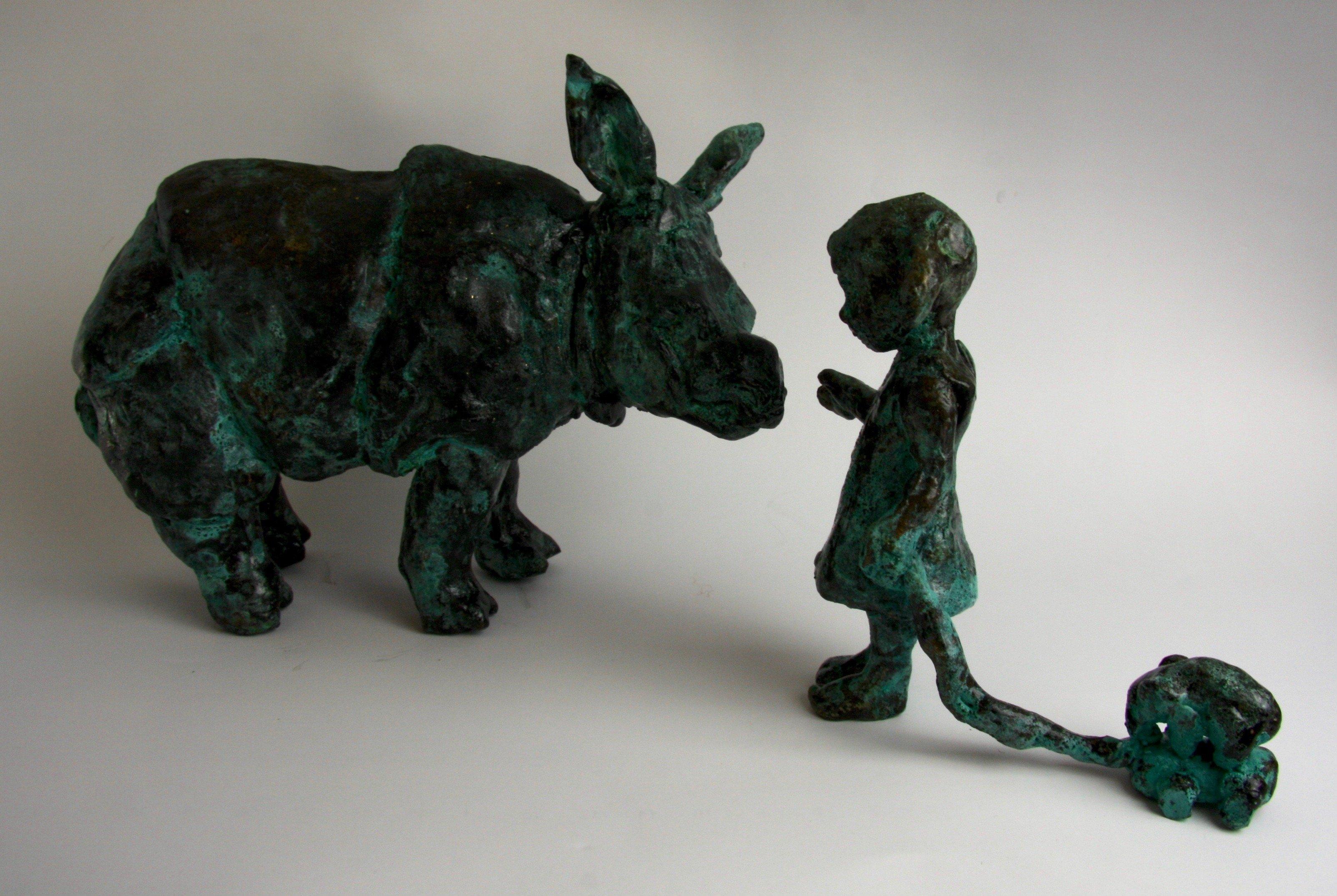 rhinocerous bronze sculpture toy elephant
