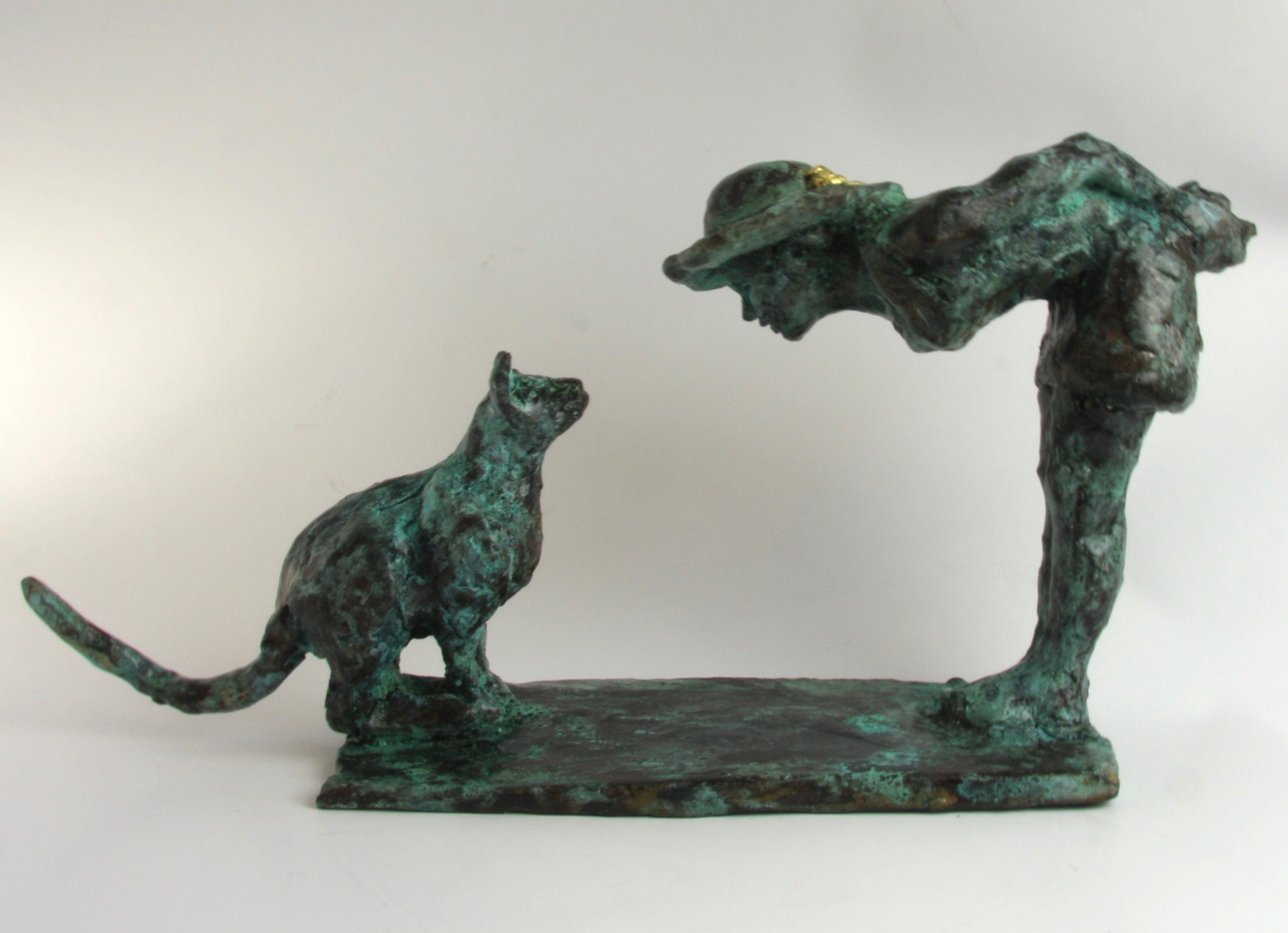cat woman bronze sculpture