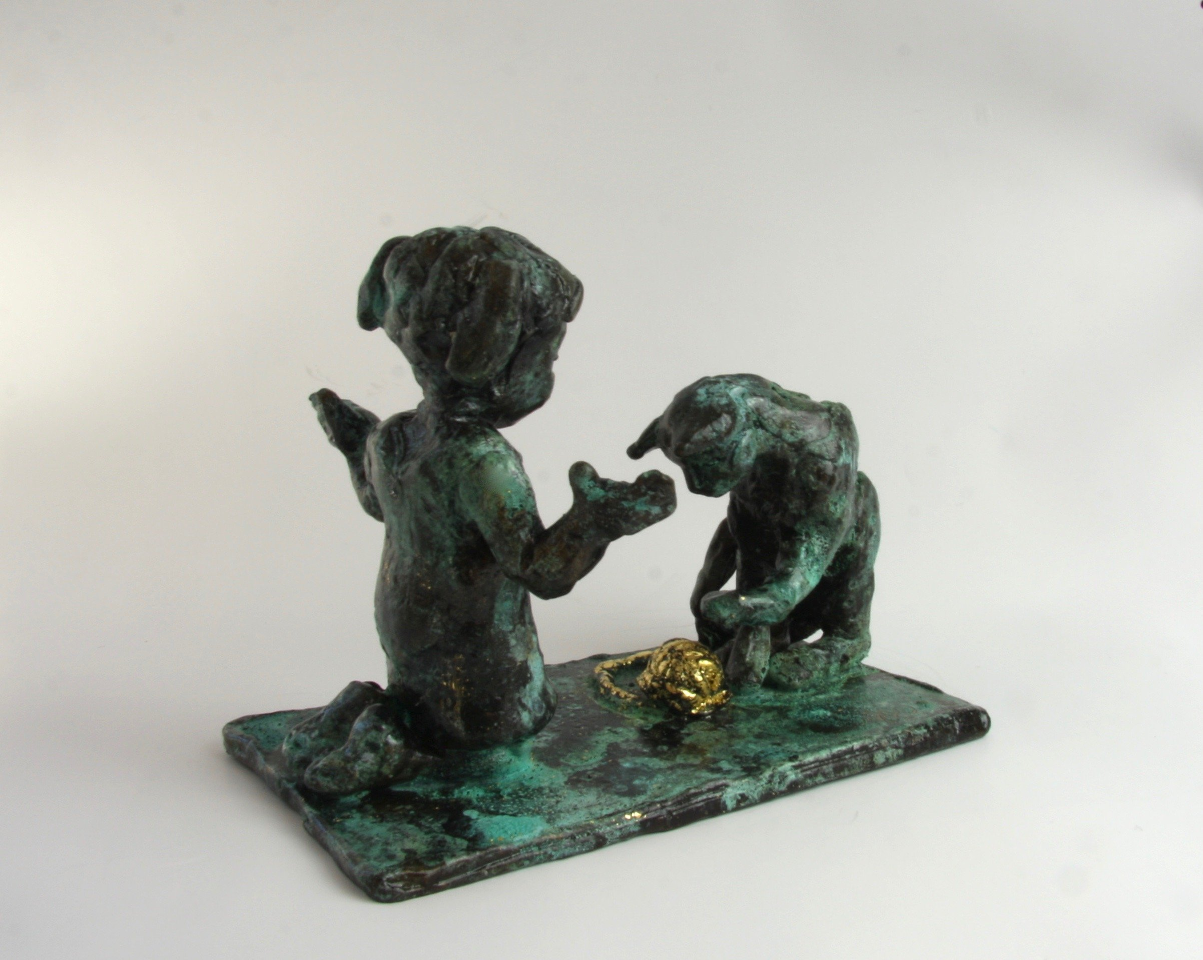 cat girl bronze sculpture