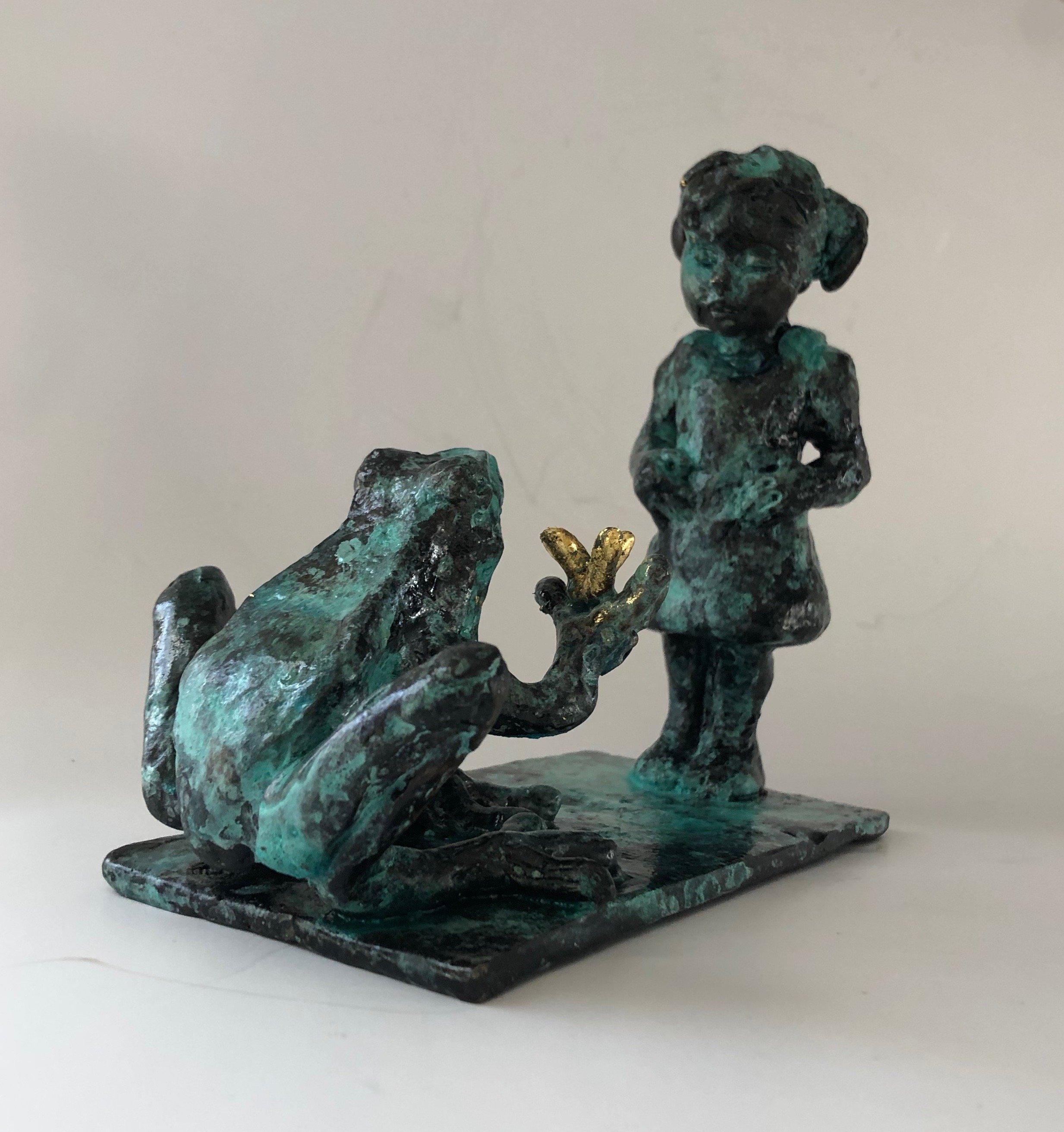 sculpture, bronze, frog, girl, magic realism